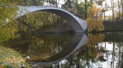 Small bridge through the river is reflected in water Stock Footage