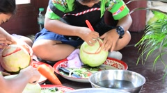 VEGETABLE & FRUIT THAI CARVING Stock Footage