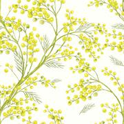 Seamless Spring Pattern with Sprig of Mimosa. - stock illustration