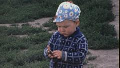 Moscow 1970s: child in the poor part of the city Stock Footage