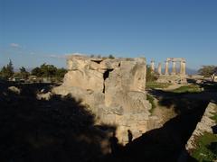 Particular of ruins in the acropolis of Corinth Greece Stock Photos