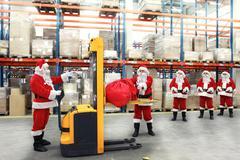 Rush hours in warehouse before Christmas - stock photo