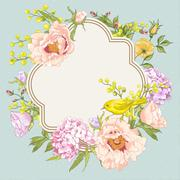 Stock Illustration of Spring Vintage Floral Bouquet with Birds