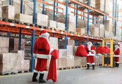 Rush hours in warehouse before Christmas Stock Photos