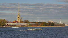 Russia, St Petersburg, Neva riverside - stock footage