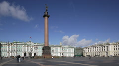 Russia, St Petersburg, Palace Square, Alexander Column Stock Footage