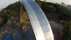 Huge arch monument made from steel in Kiev city Stock Footage