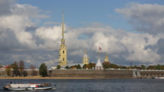 Russia, St Petersburg, Neva river, Peter and Paul Fortress - stock footage