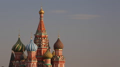 Russia, Moscow, St Basils Cathedral domes in Red Sq. Stock Footage