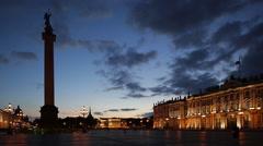 Russia, St Petersburg, Alexander Column, Hermitage - stock footage