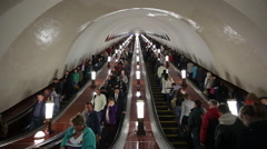 Russia, Moscow, Metro system escalator, world's deepest Stock Footage