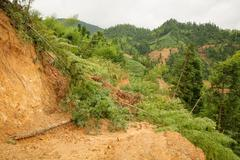 Close view of landslide in china - stock photo