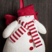 Hand made felt  snowman christmas decoration. christmas toy. vintage style, o Stock Photos