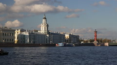 Russia, St Petersburg, river Neva, Cathedral Stock Footage