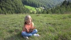 4K Portrait Thinking, Pensive Child, Little Girl Face Looking, Relaxing, Meadow - stock footage