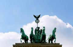 Quadriga on the Brandenburg Gate, a former city gate and one of - stock photo