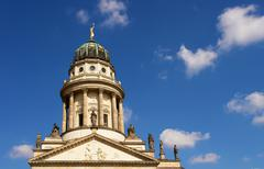 the French Cathedral domme detail, Gendarmenmarkt square - stock photo