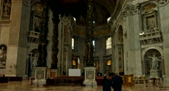 ROME - CIRCA 2014: Saint Peter Cathedral interior Vatican Catholic Church. Stock Footage
