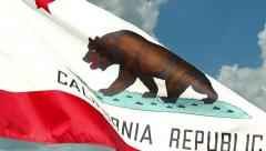 California Flag Slow Waving Clouds Timelapse Stock Footage