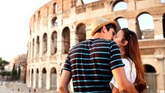 Lovely Young Couple on Vacation Rome Italy Coliseum Love Romance Concept Stock Footage