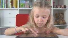 Little Girl Playing Tablet, Computer, Child Surfing Internet on Ipad, Kid Office Stock Footage