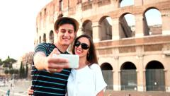Happy Love Romantic Couple on Vacation in Italy Taking Pictures Smartphone Stock Footage