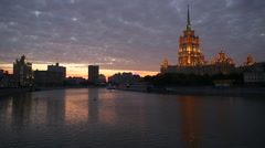 Russia, Moscow, Moskva river, Hotel Ukraine, dawn Stock Footage