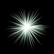 Bright colorful glow explosion, huge energy release in black background - stock illustration