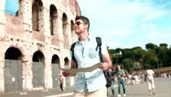 Young Businessman Traveling Europe Vacation Map Backpacking - stock footage