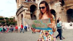 Beautiful Young Woman Stylish Dress Walking Rome Map Coliseum Stock Footage