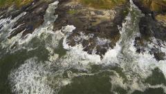 Aerial of Breaking Waves in Coastal Oregon Stock Footage