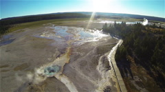 Strafing Hot Spring Aerial Stock Footage
