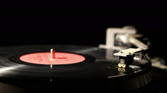 gramophone record on a black background, close-up 2 - stock footage