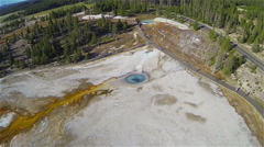 Yellowstone Bacterial Trail Aerial Stock Footage