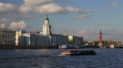 Russia, St Petersburg, Kunstkammer, river Neva - stock footage