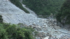 Mudflows and landslides in Taiwan nountain Stock Footage