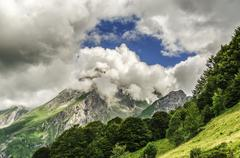 amazing landscape over the pyrenees mountains in  France - stock photo