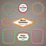 Christmas Beads Garlands Frames with a Copy Space Set - stock illustration