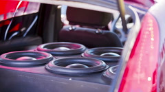 Car Speakers Moving With Sound - stock footage