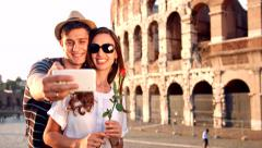 Attractive Young Romantic Couple Boy Girl Selfie Sunset Rome Coliseum Arkistovideo