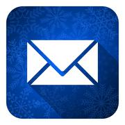 email flat icon, christmas button, post sign. - stock illustration