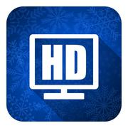 hd display flat icon, christmas button. - stock illustration