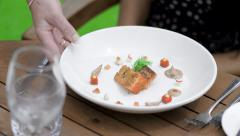 Close-Up of Gourmet Food Being Served 2 Stock Footage