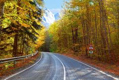 mountains and road - stock photo