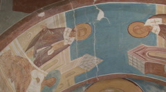 The frescoes in an Orthodox monastery - stock footage