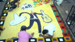 Students making an altar on the floor Stock Footage