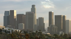 Close view of down town LA with helicopter HD Stock Footage