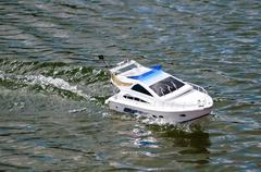 Electric radiocontrolled model boat Stock Photos