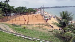 View of Boa Viagem Beach with a soccer field in Salvador, Brazil Stock Footage