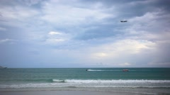 Thailand. 25 july 2014. plane flies over the ocean and land on the island of Koh Stock Footage